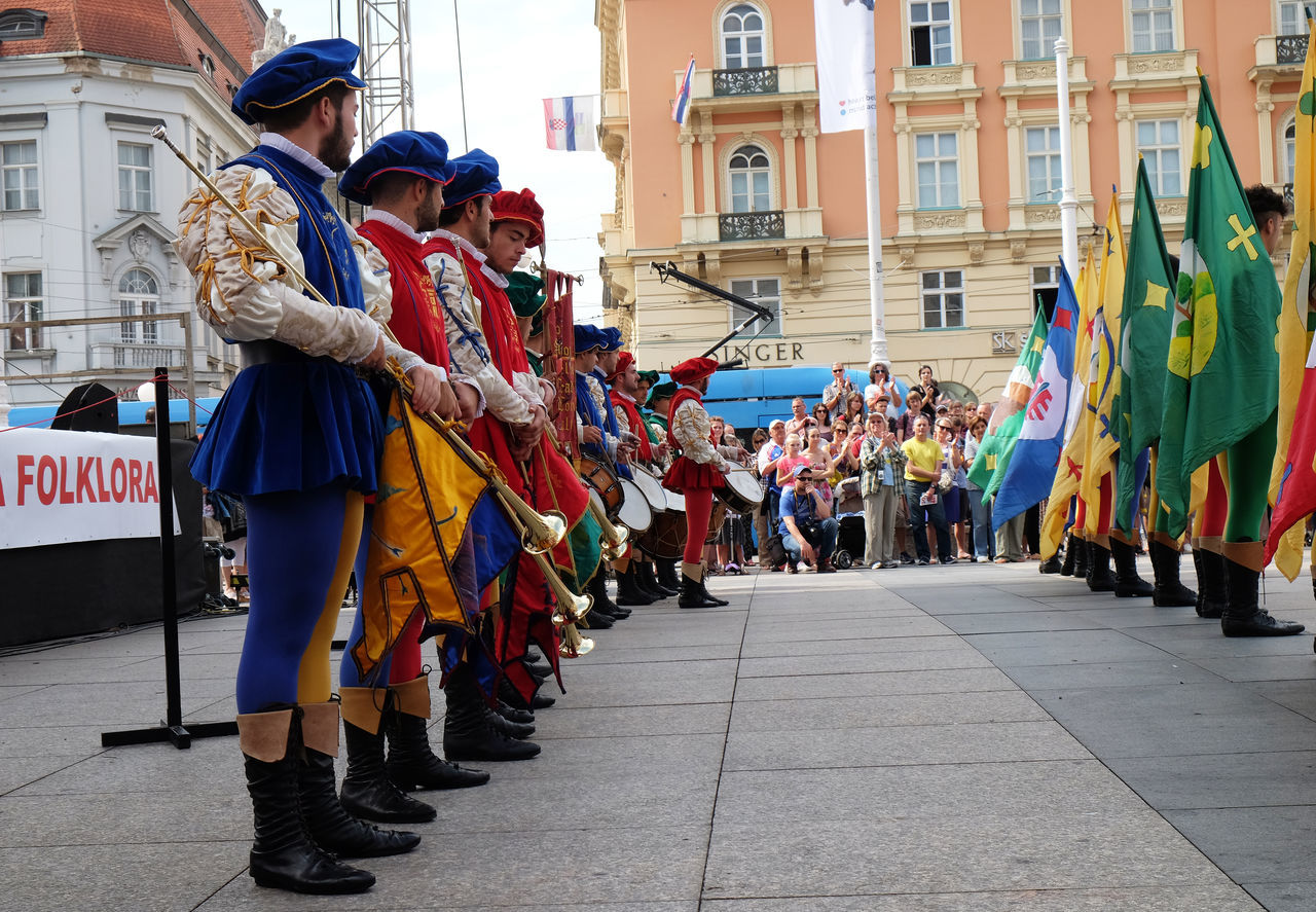 Members of folk group Storici Sbandieratori Contrade Cori, from Cori, Italy during the 50th International Folklore Festival in center of Zagreb, Croatia on July 20, 2016 Celebration Cori Costume Costume Croatia Culture Culture Dance Entertainment Event Festival Folk Folklore Historical Italy Music Participant Perform Show Style Traditional Zagreb