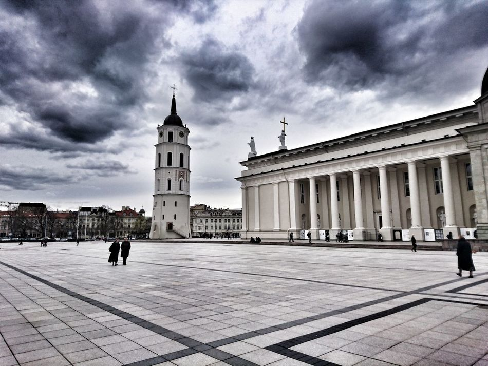 Lithuania Architecture Cloud - Sky Travel Destinations Vilnius Vilnius Old Town Vilnius, Lithuania Vilnius Cathedral Cathedral Cathedral Square Cathedral Basilica Neoclassical Neoclassical Architecture NeoClassicism Crosses Bell Tower