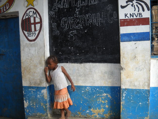 Blue And White Wall Football Clubs Kenya Lifestyles Little Girl Real People Shygirl Standing Symbol