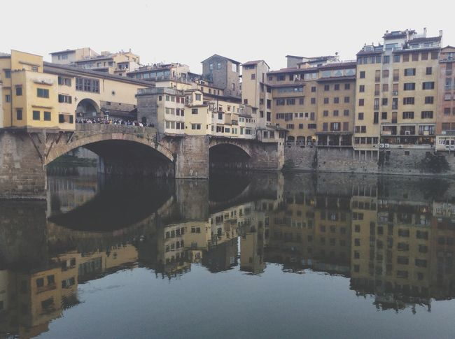 Urban Reflections Ponte Vecchio Fading Light Arquitecture Urbanism Blue Sky River Mirror Old Town