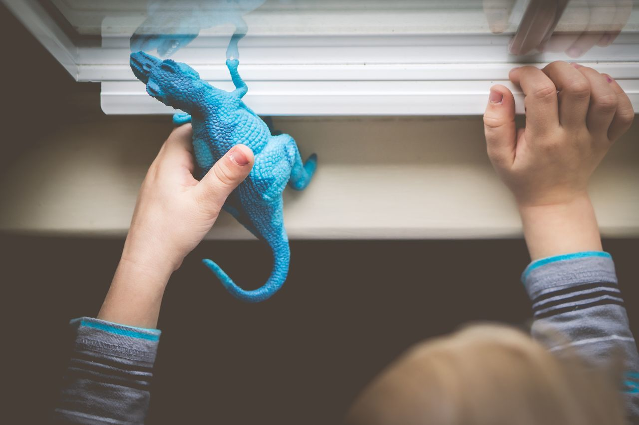 Cropped Hands Of Boy Playing With Dinosaur Toy On Window Sill