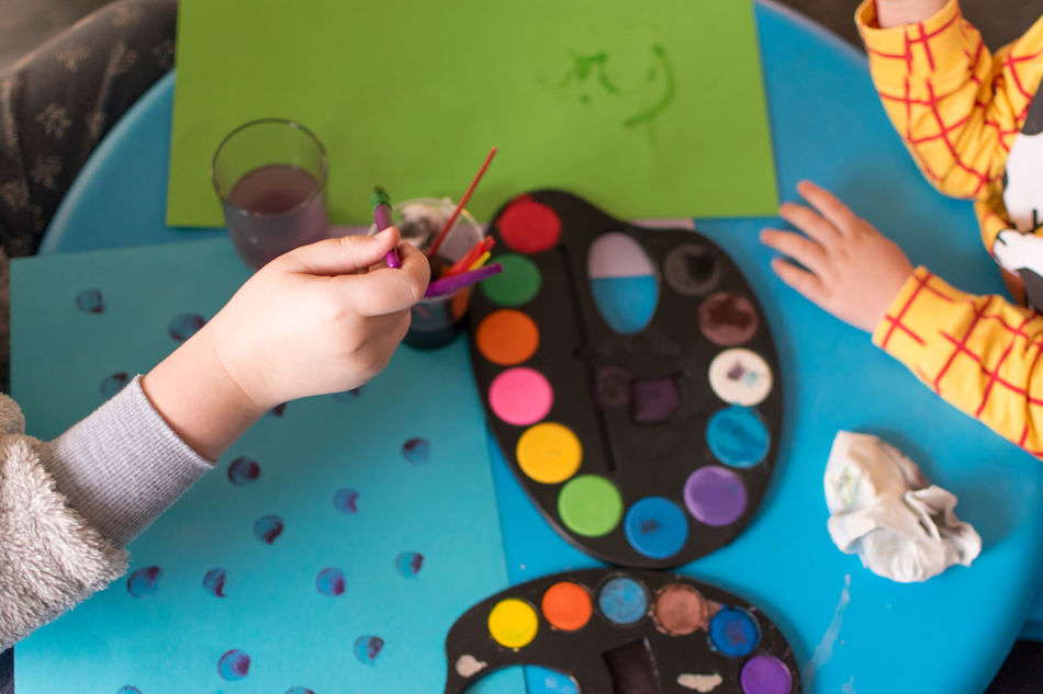 Child Multi Colored Human Hand Childhood Leisure Activity Holding People Indoors  Children Only Close-up Painting Palette Creativity Water Colours Paper Family Siblings