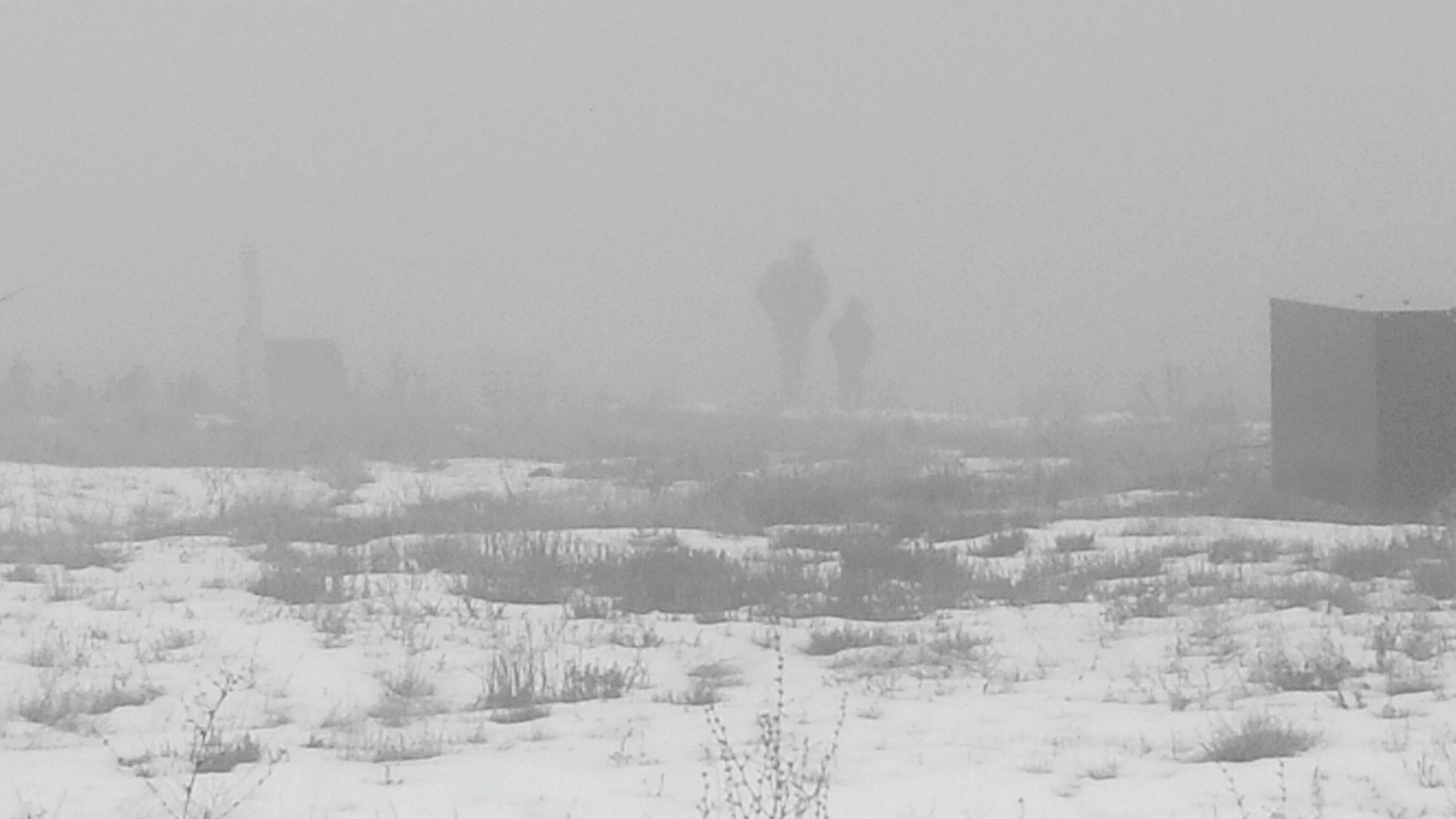 winter, weather, cold temperature, nature, snow, day, outdoors, field, fog, real people, sky, built structure, beauty in nature, landscape, city, tree, snowing, architecture, hazy, rainfall