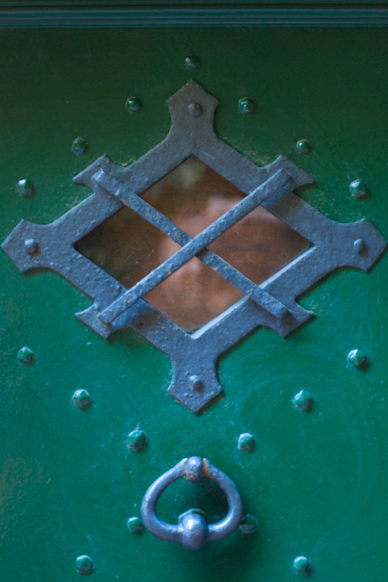 Close-up Day Door Door Window Doornail Green Color Looking Through Window Reflection