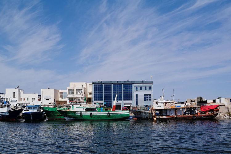 Blue Boat Boats Building Exterior Clouds Fishing Harbor Landscape Mahdia Mode Of Transport NX2000 Port Sea Sky Tunisia Water