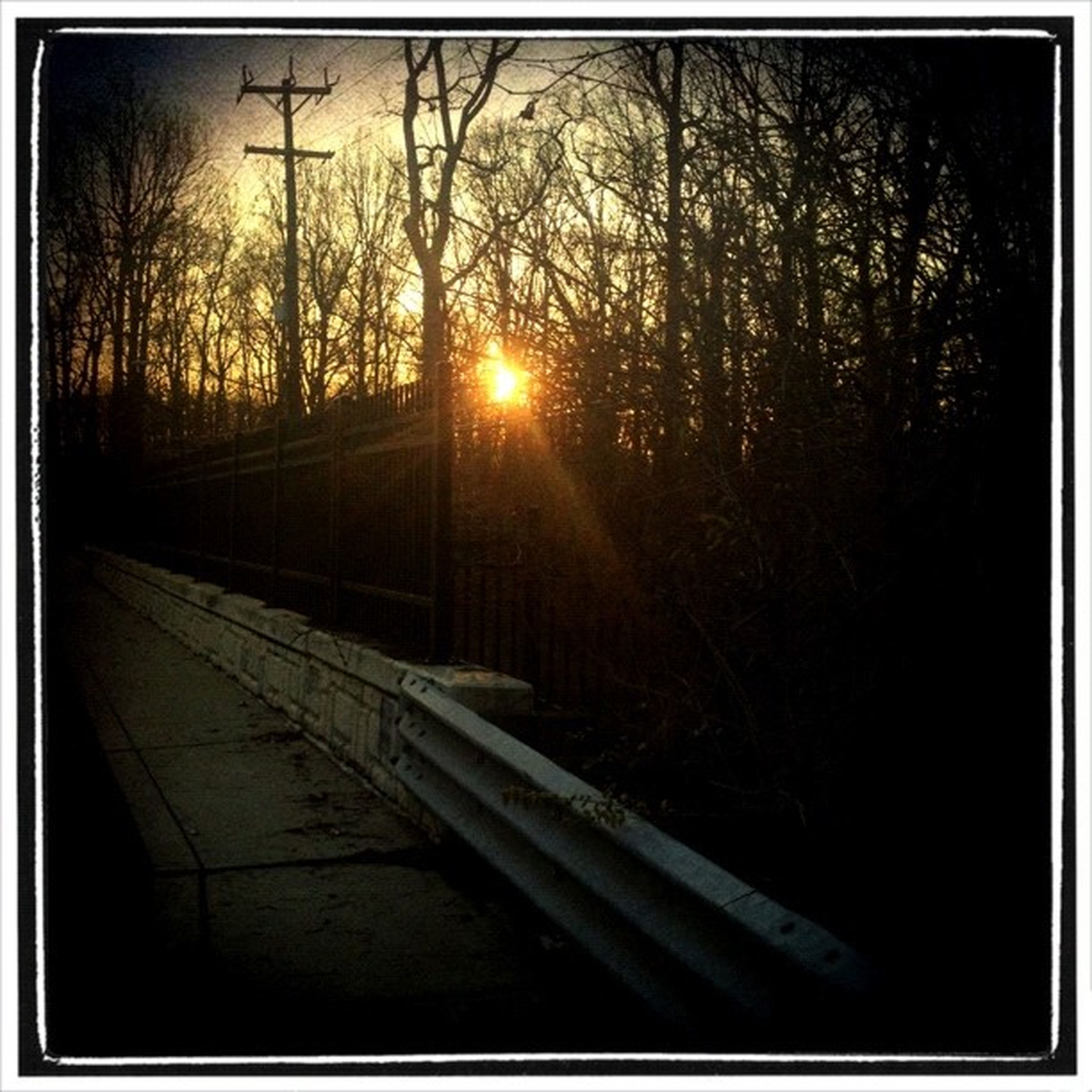 transfer print, tree, sunset, auto post production filter, sun, silhouette, sunlight, transportation, bare tree, sunbeam, nature, tranquility, lens flare, no people, orange color, railroad track, outdoors, dark, sky, branch