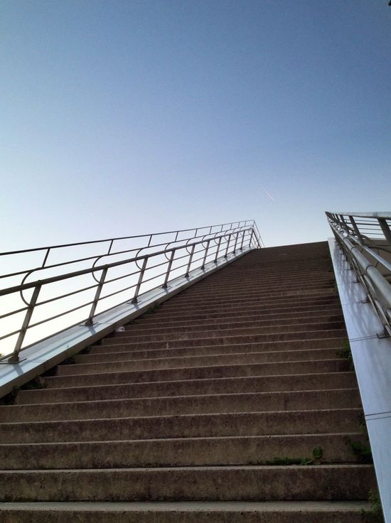 Staircase Low Angle View Steps And Staircases Steps Railing Built Structure Clear Sky Architecture Outdoors Day No People Building Exterior Sky Schokoladenmuseum Blue Sky Lookingup Stairs Stairway To Heaven Stairways