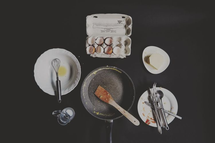Spoon Preparation  No People Indoors  Freshness Healthy Eating Egg Carton Food And Drink Arrangement Srambled Eggs Hungry Eating Lifestyles Fry Healthy Kitchen Butter Cooking Pan Black Background Milk Egg Eggs... Breakfast Empty Food Stories