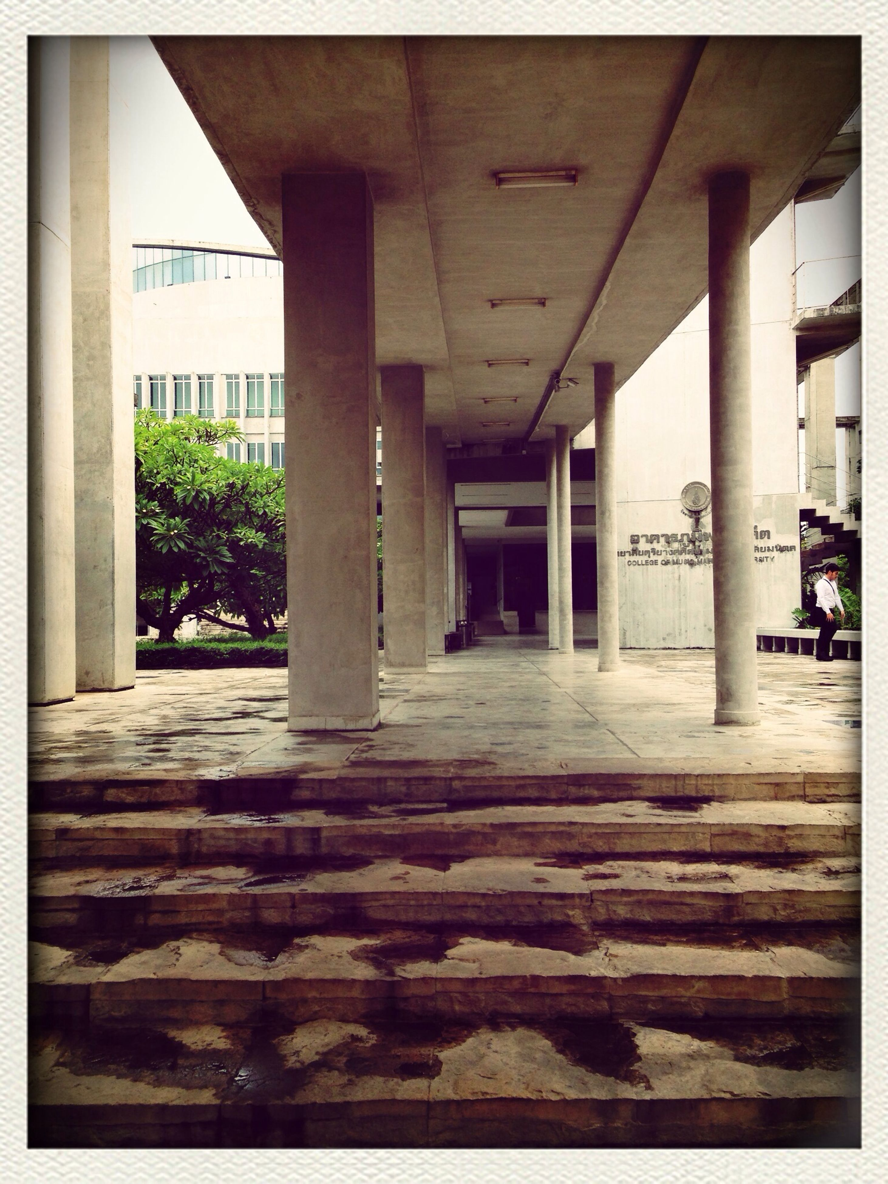 transfer print, architecture, built structure, auto post production filter, building exterior, architectural column, column, sunlight, incidental people, building, city, day, shadow, indoors, the way forward, steps, colonnade, paving stone, person