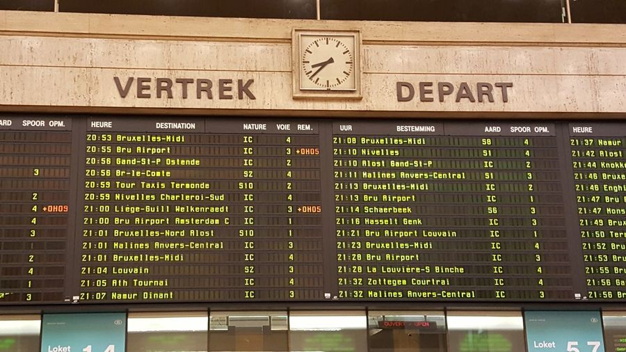 Tourist Attraction  Tourism Bruxelles Brussels Belgium Train Station Gare Information Sign Clock Art Deco Architecture Marble Great Fonts Departures