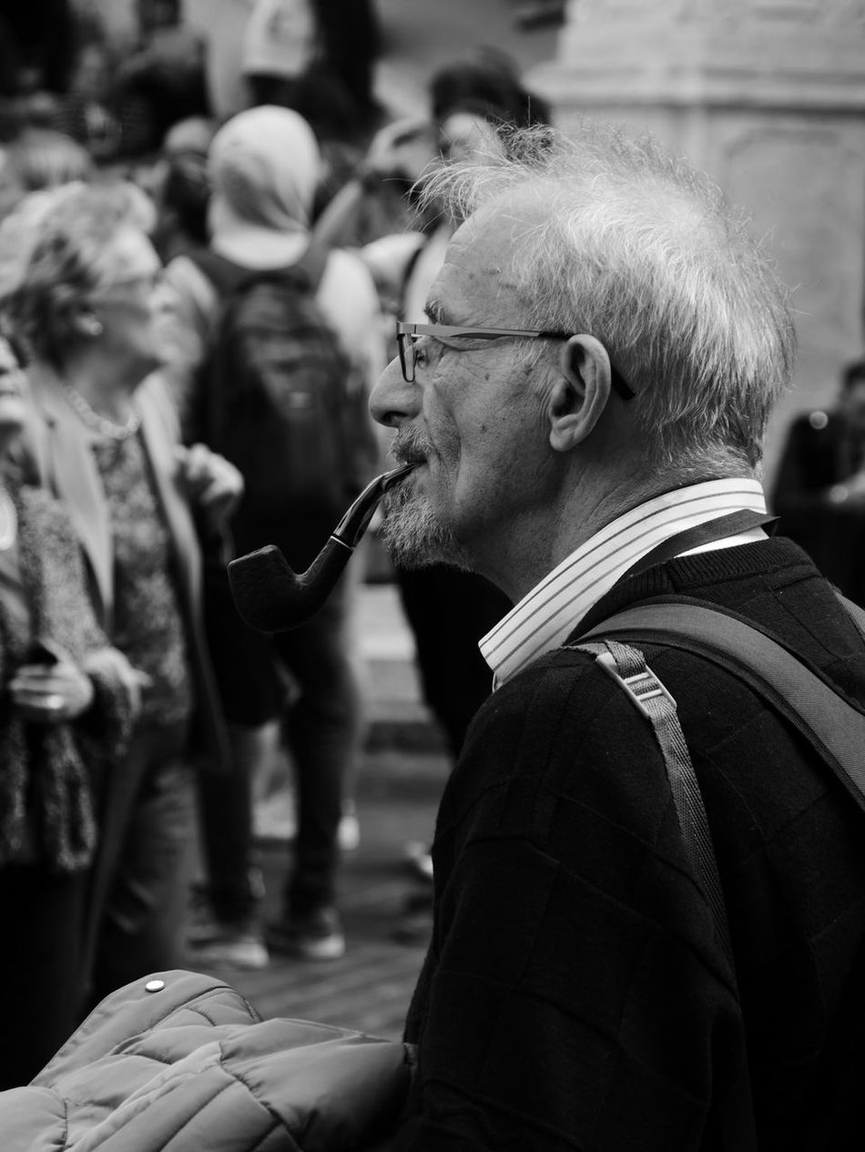 Adult Authenticity Black & White Men One Person Outdoors Pipe Smoking Real People Senior Adult Side View Sigar Smoking - Activity