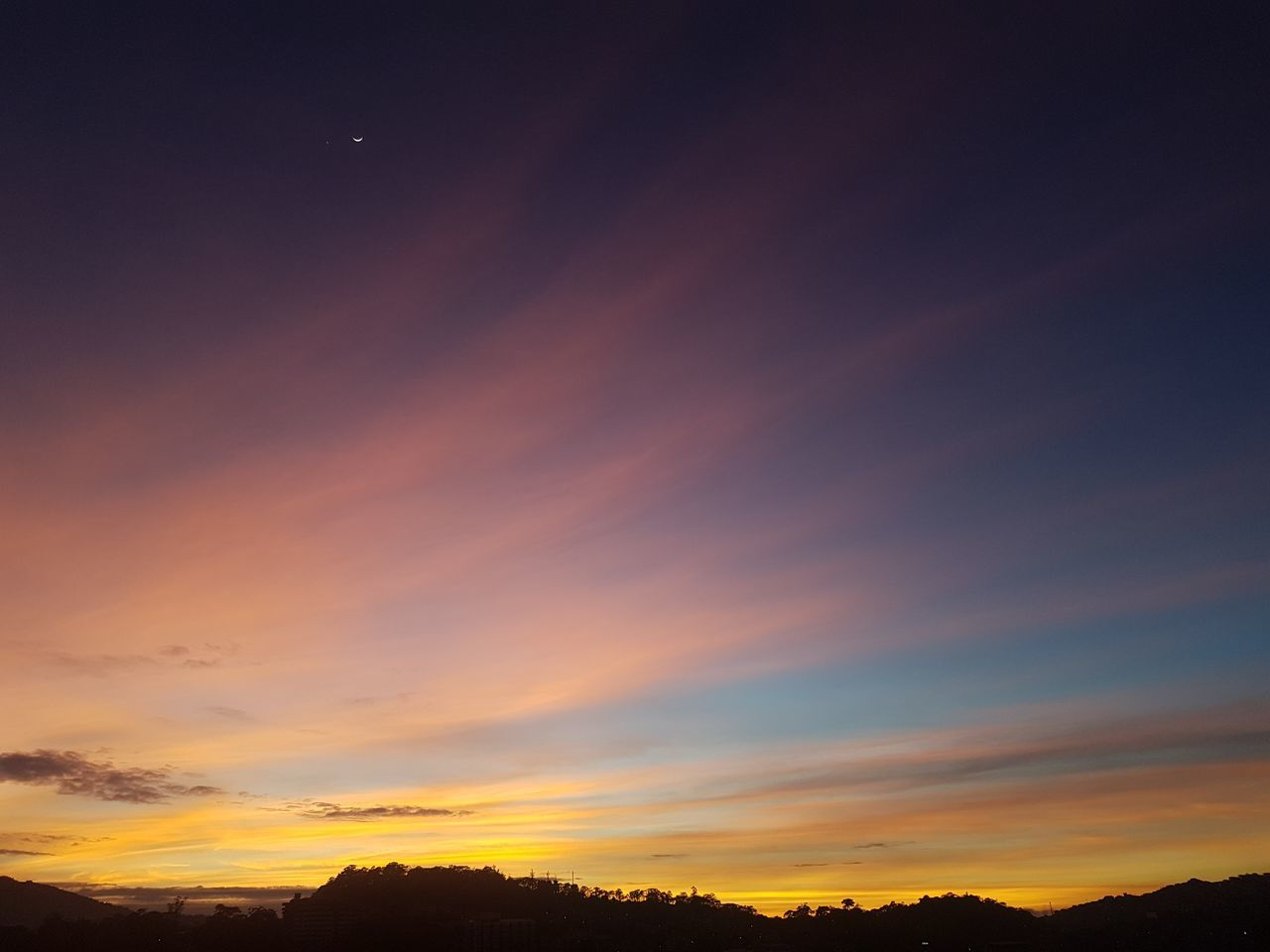 Sunset Sky Nature Space Silhouette Moon Dark Scenics Beauty In Nature Astronomy Dramatic Sky Star - Space Galaxy Outdoors No People Dusky Sky Dusk One Star Samsung Galaxy S7 No Edits No Filters Night
