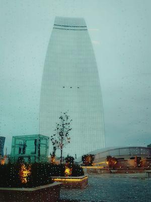 Flametowers Baku RainyDay Rain☔ Clouds Sky Building Calm Window Nadir Architecture Built Structure Building Exterior Rain Day Tall - High Outdoors Sky Modern No People
