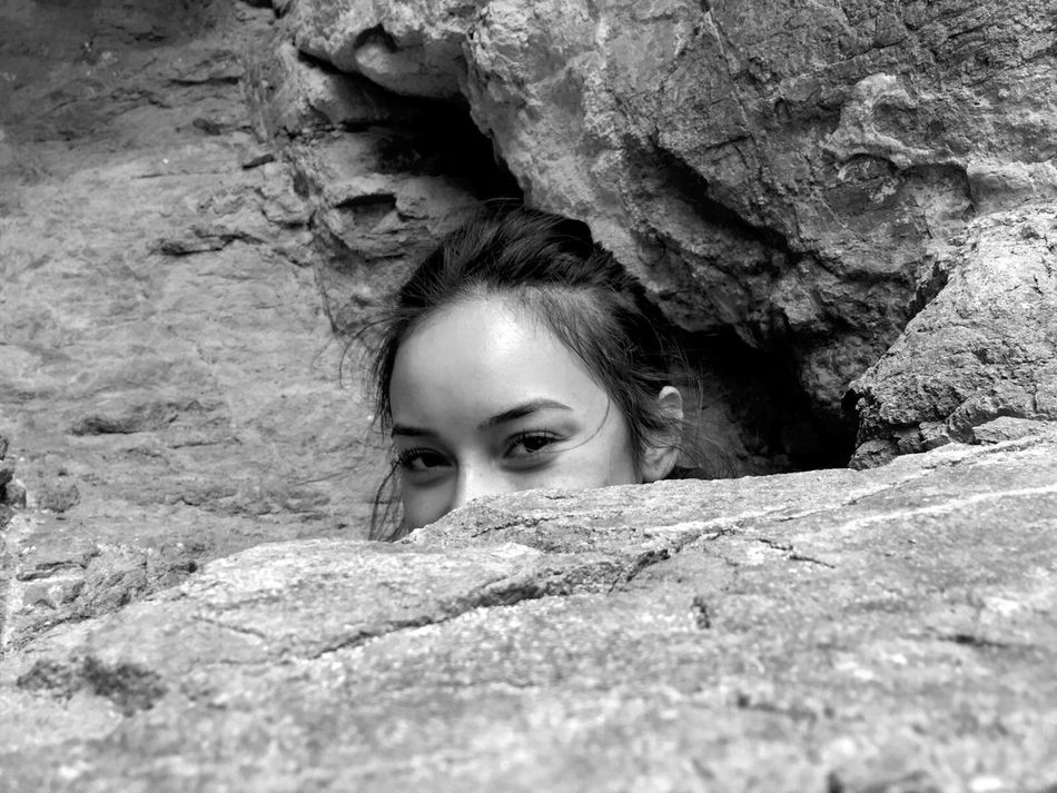 The Secret Spaces Art Is Everywhere One Person Rock - Object Young Women Young Adult Real People Looking At Camera Woman Portrait Model Woman Of EyeEm Day Portrait Headshot Outdoors Childhood Lifestyles Adventure Nature People (null) TheWeekOnEyeEM Getty Images
