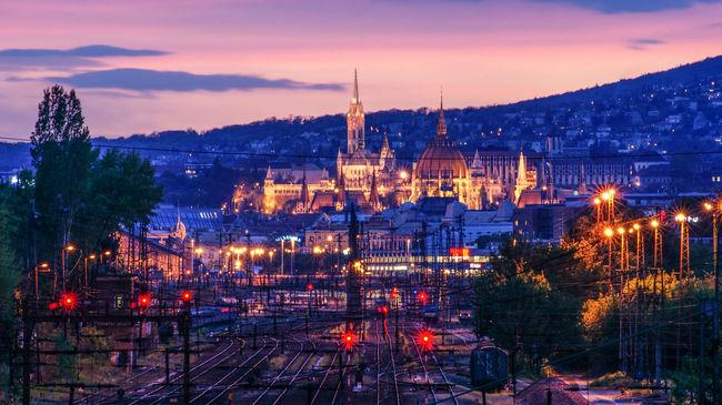Budapest City Hungary Long Exposure Nyugati Orange Color Sky Sunset Train Train Station First Eyeem Photo