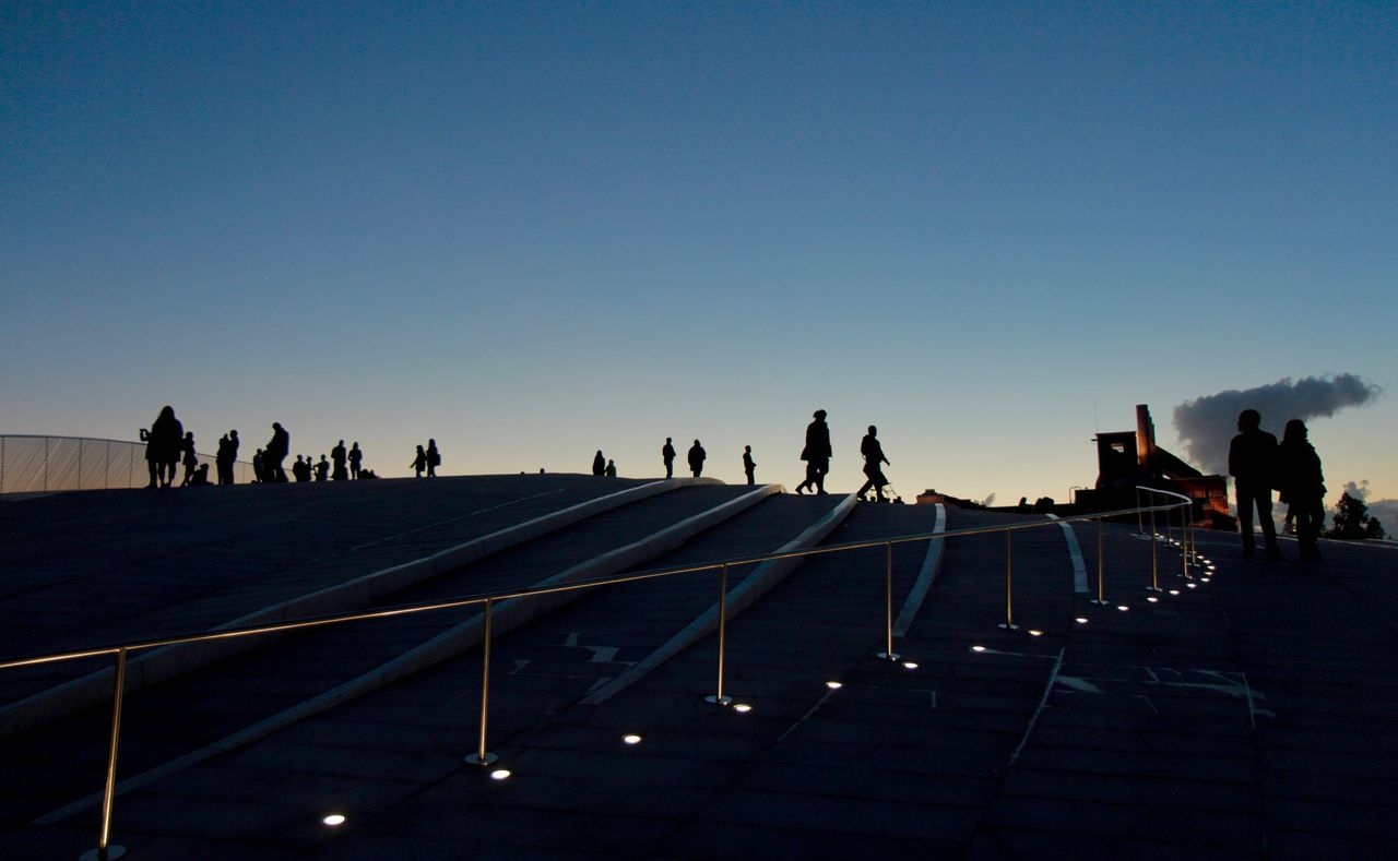 large group of people, real people, walking, men, lifestyles, clear sky, leisure activity, silhouette, copy space, women, sky, built structure, travel destinations, steps and staircases, outdoors, sunlight, standing, day, nature, vacations, architecture, adult, people
