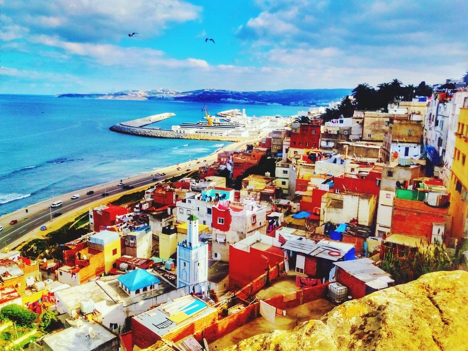 Sea Sky City Water Beach Travel Destinations Architecture Nautical Vessel Building Exterior Cloud - Sky Outdoors Horizon Over Water Vacations Large Group Of People Cityscape Day People Tanger  Morocco 🇲🇦