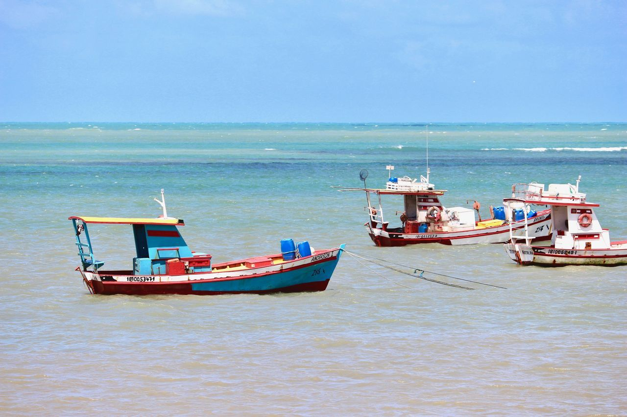 Craft fishing boats in North Brazil. Atlantic Beach Beauty In Nature Blue Sky Clear Sky Colorful Day Fishing Boats Horizon Over Water Live For The Story Mode Of Transport Natal - RN Nautical Vessel No People Ocean Outdoors Sand Scenics Sea Summertime The Great Outdoors - 2017 EyeEm Awards Tranquility Water Waterfront Wave