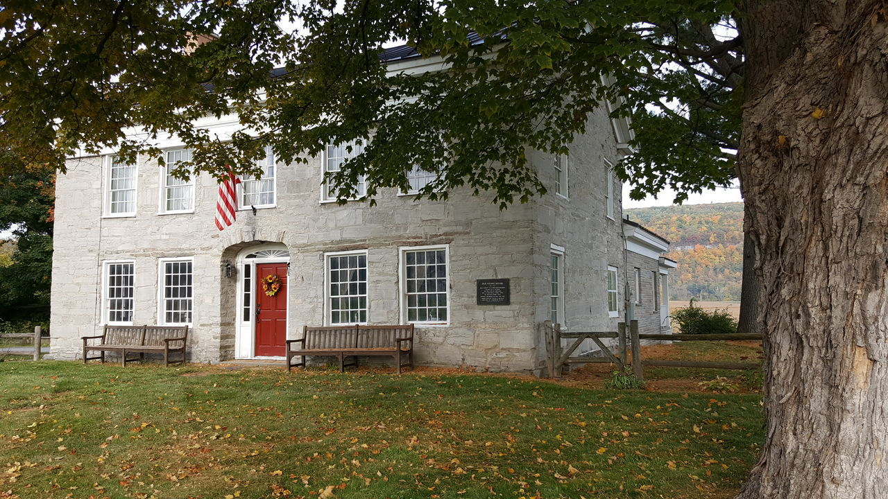 1772 Old Stone House, Schoharie, NY. Architecture Building Exterior Tree Built Structure House Old House Old Stone House Old Stone Home Autumn Colors Autumn🍁🍁🍁 Early Settler