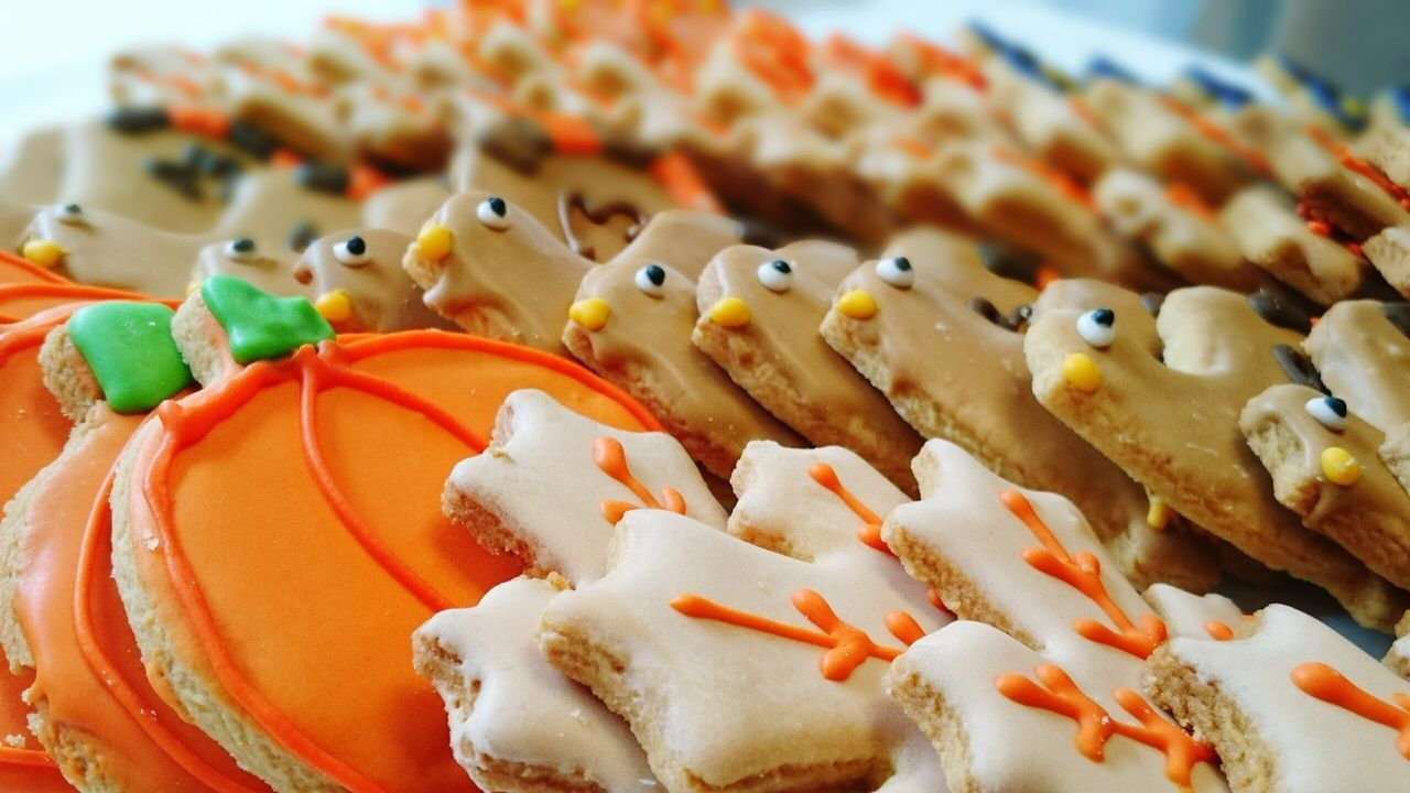Various Gingerbread Cookies Arranged For Sale At Shop
