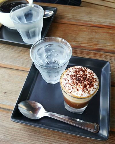 Coffee - Drink Table Wood - Material Drink High Angle View Drinking Glass Refreshment Marocchino