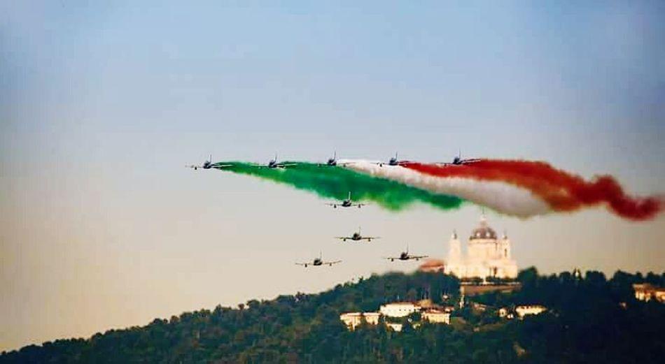 Torino Italia Frecce Tricolori Airshow Flying Basilica Di Superga