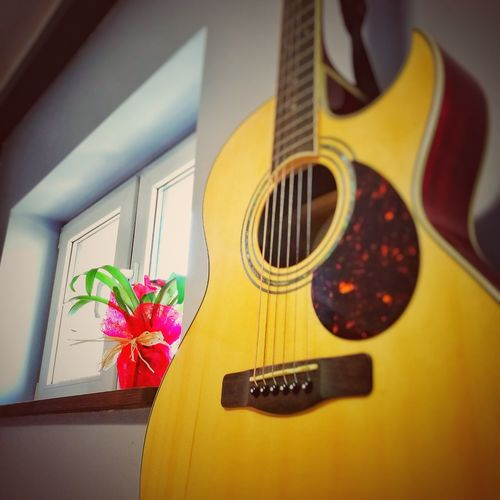 EyeEmNewHere Flower Selective Focus No People Musical Instrument Yellow Home Interior Day Guitar Close-up Fragility The Week On EyeEm Mix Yourself A Good Time
