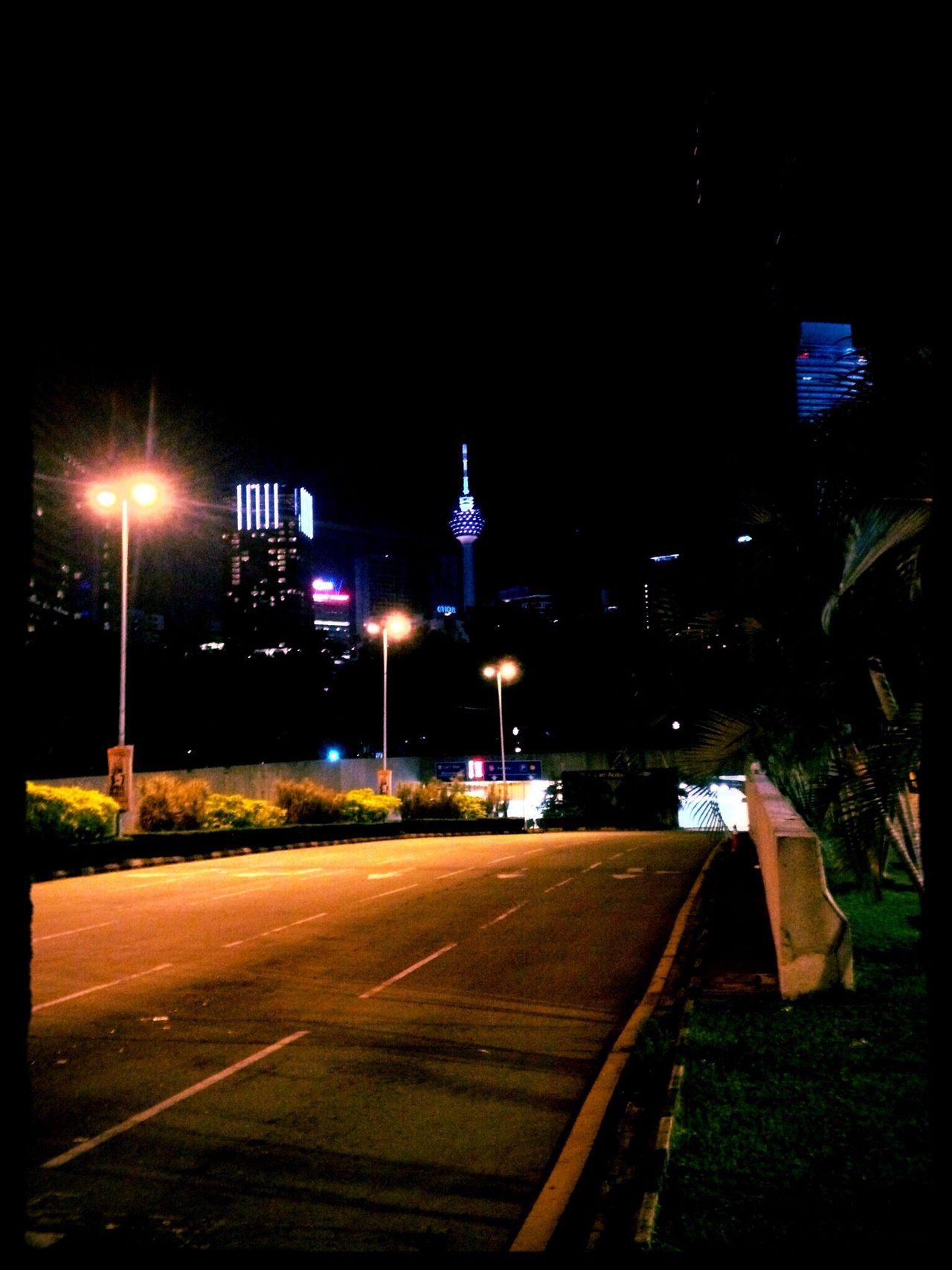 The City Light Night Illuminated Street Light No People Outdoors Built Structure Road Architecture Sky City Tree Pitch Black Pitch Black Sky Pitch Black And City Lights Kuala Lumpur Kuala Lumpur Malaysia