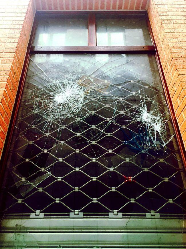 Vandalism Window Glass Broken Glass Threat Danger Attack Street