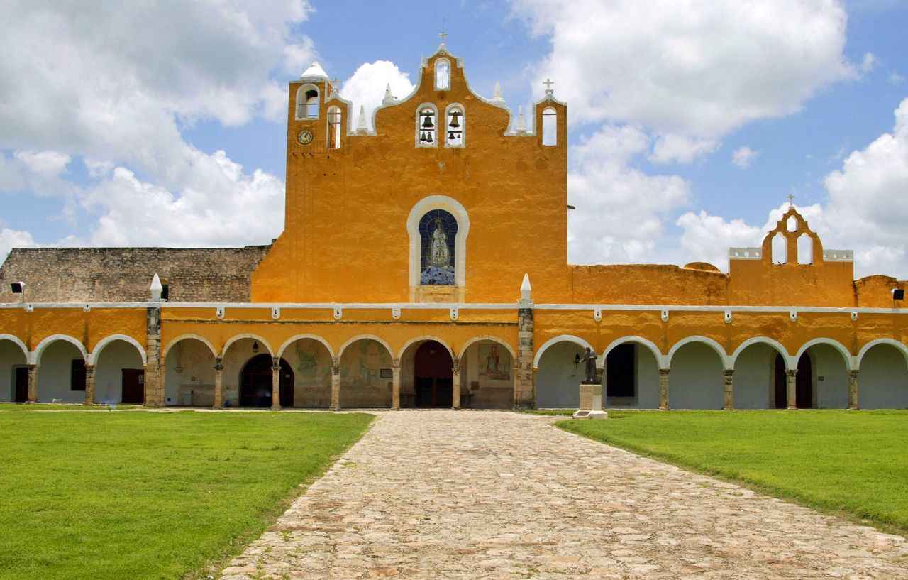 Monastery Izamal, Yucatan, México Architecture Arch Built Structure Sky Cloud - Sky Building Exterior Religion History Place Of Worship Spirituality Grass Day Outdoors No People Travel Destinations Izamal Izamal Yucatan Monastery Weltblick Eye4photography  From My Point Of View Yúcatan Yucatan Mexico