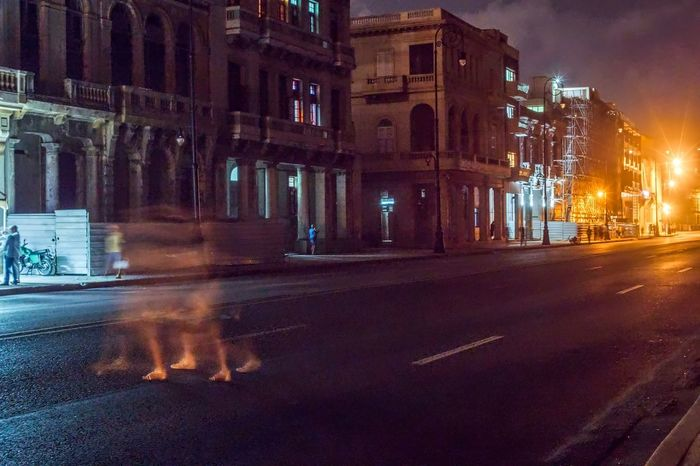 Female Ghost on the Malecón Architecture Building Exterior Built Structure City City Street Cuba Cuba Collection Day Ghost Havana HRD Effects Illuminated Malecon Night No People Outdoors Road Sky Street Travelling Photography