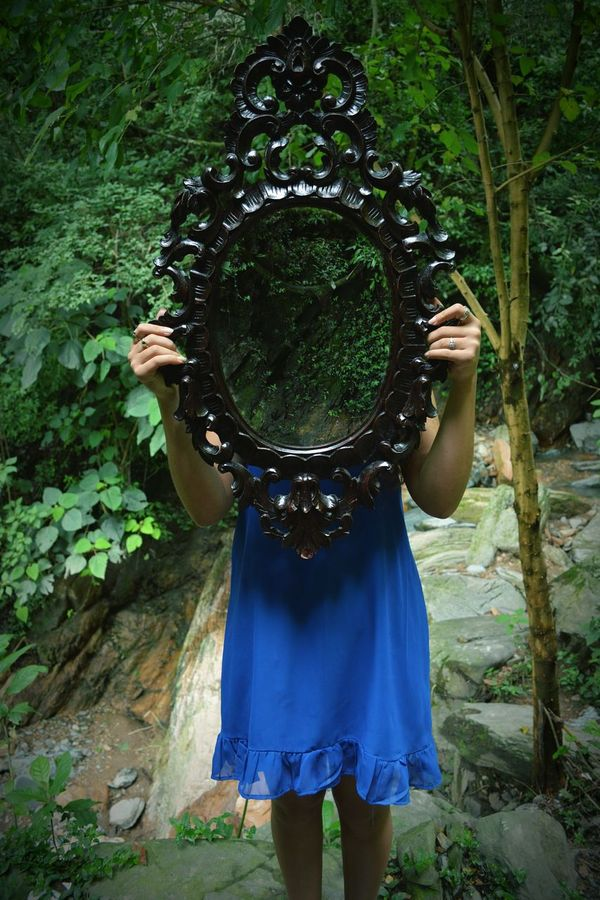 Real People Nature Mirror Effect Girl Blue Ilusions Ilusion