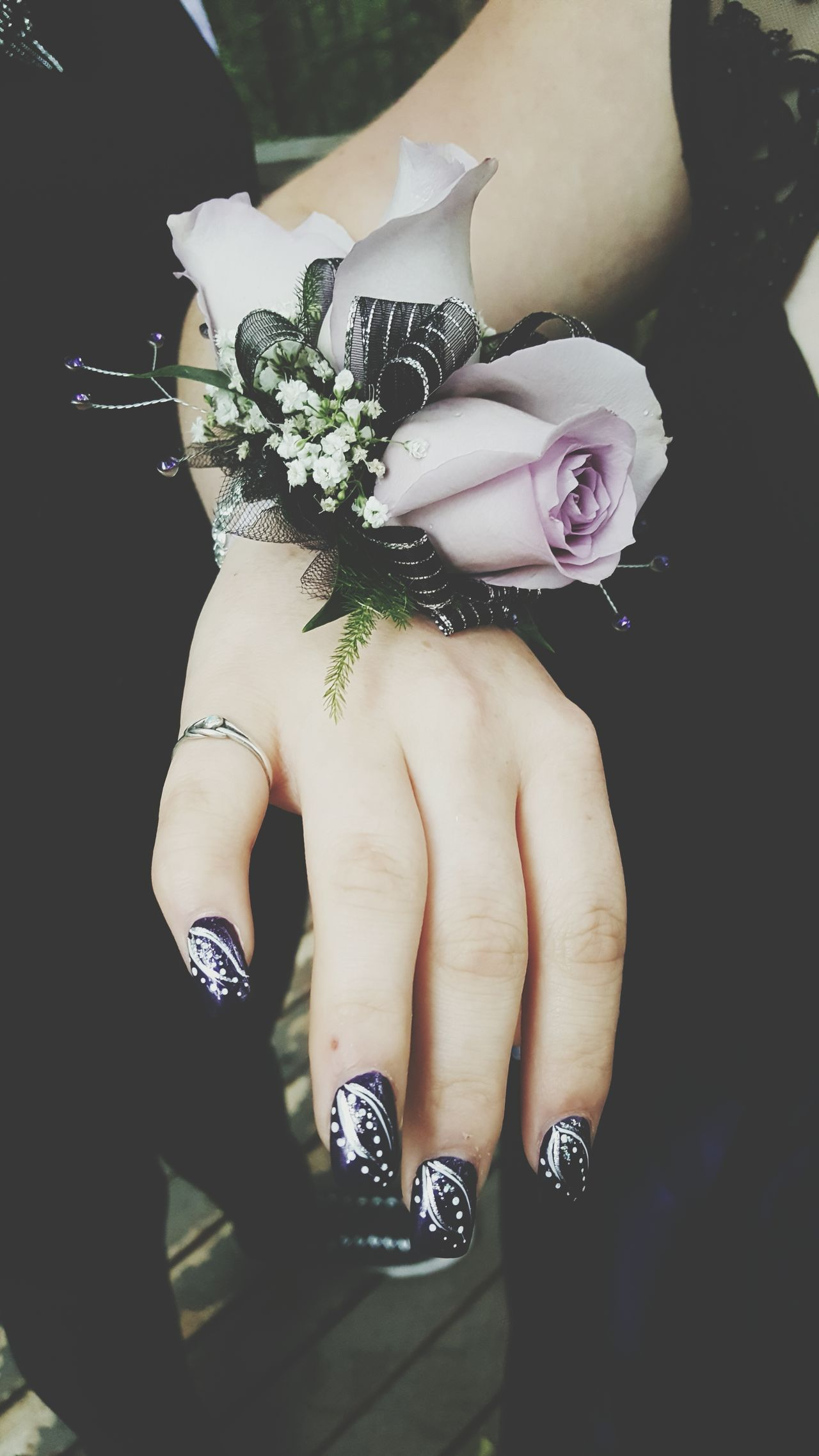 Flower Corsage Prom Nails Nail Art