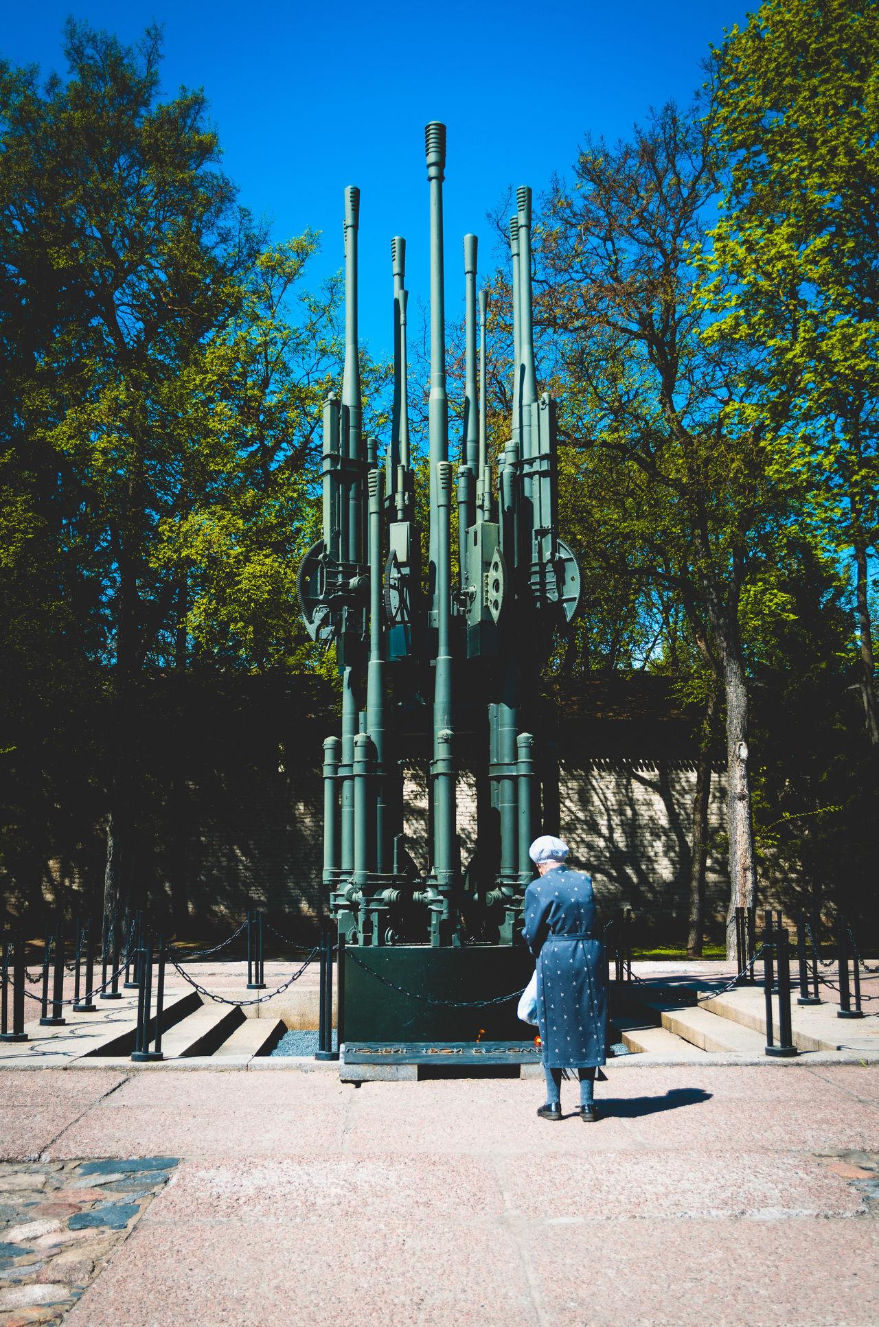 City Grandma Honor Memories Monument Old People Outdoors Pskov Russia Tree War Weapon