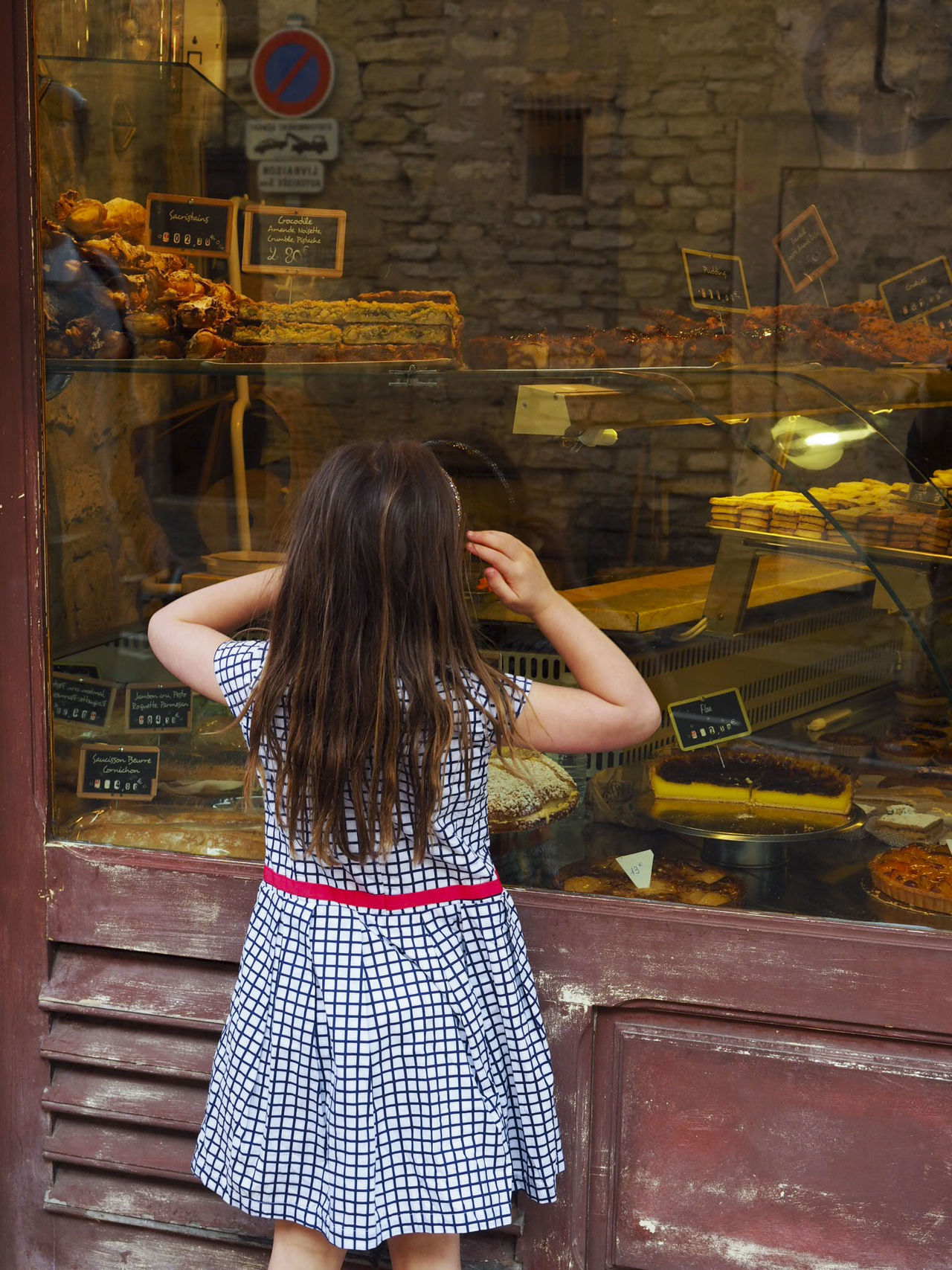 Cake Shop Child France French Village Girl Long Hair One Girl Only Patisserie Peeking Peeking Through Provence Rear View Rustic Travel Village Life