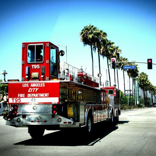 L.A City Fire Dept. Firetrucks California Responding Action Shot  Canon Fireman Firehouse L.A.X Airport