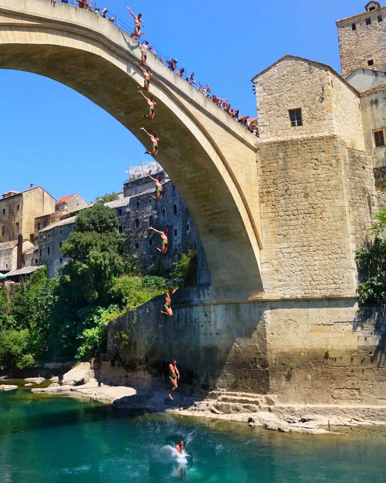 Built Structure History Fortified Wall Water Mostar Bridge Diving Kopru Mostar Bosnia Mostar Köprüsü Bosnia And Herzegovina Bosna River Nehir