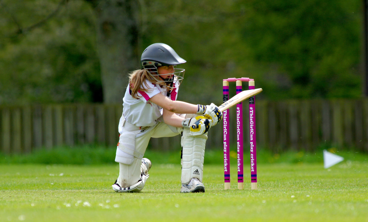 Bat Batting Child Competition Cricket Girl Girls Cricket Helmet One Person Outdoors Sport Stumps Sweep This Girl Can