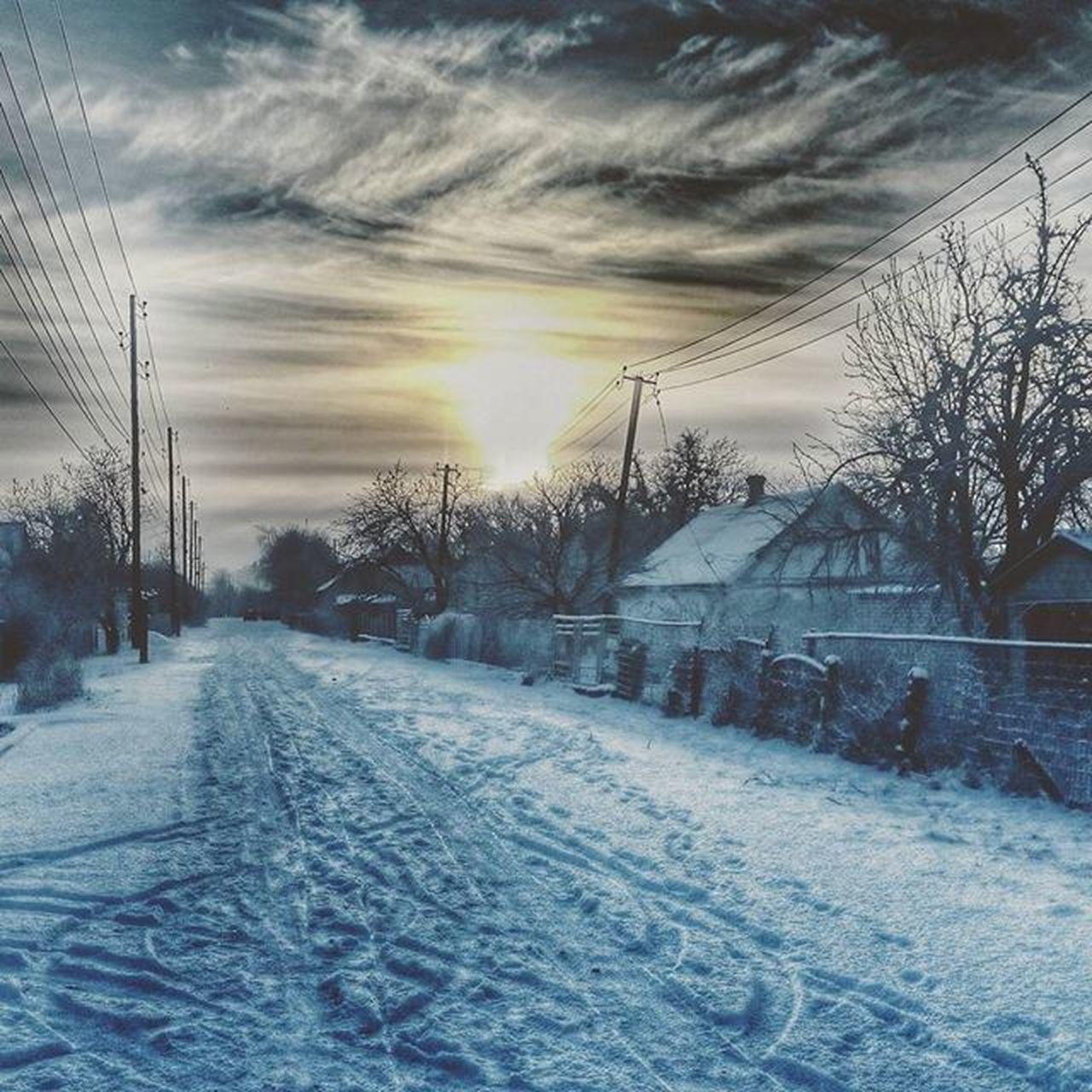 Родной поселок , улица , снежноеутро