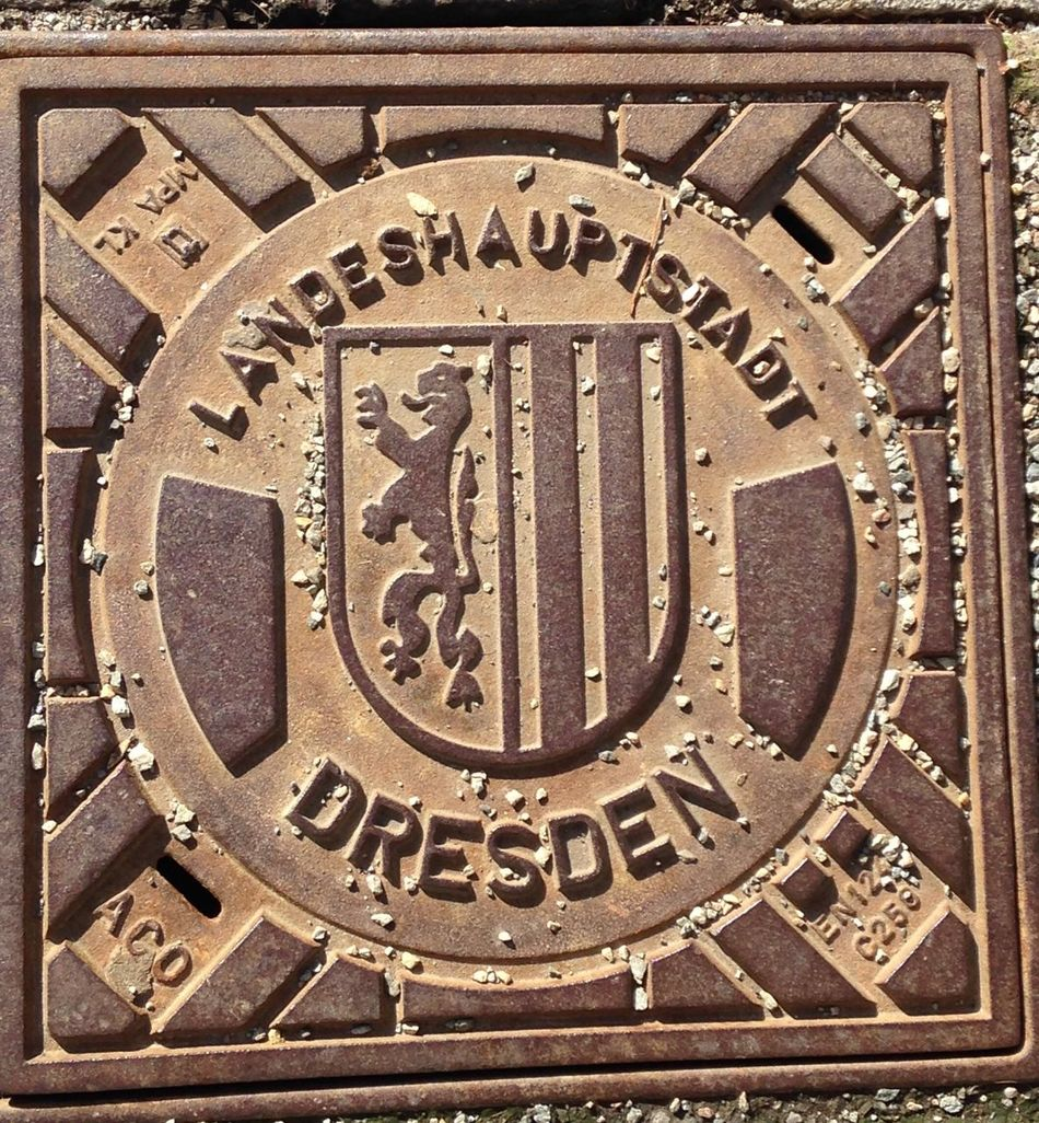 Dresden Gernany Manhole  Text Western Script Communication Close-up No People Day Outdoors Astrology Sign