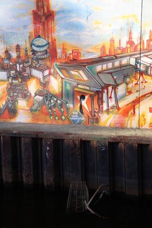 The underworld Cart Colors Ditch Dumping Rubbish Ecology Evening Light Graffiti No People Overpass Summer Sunset Water