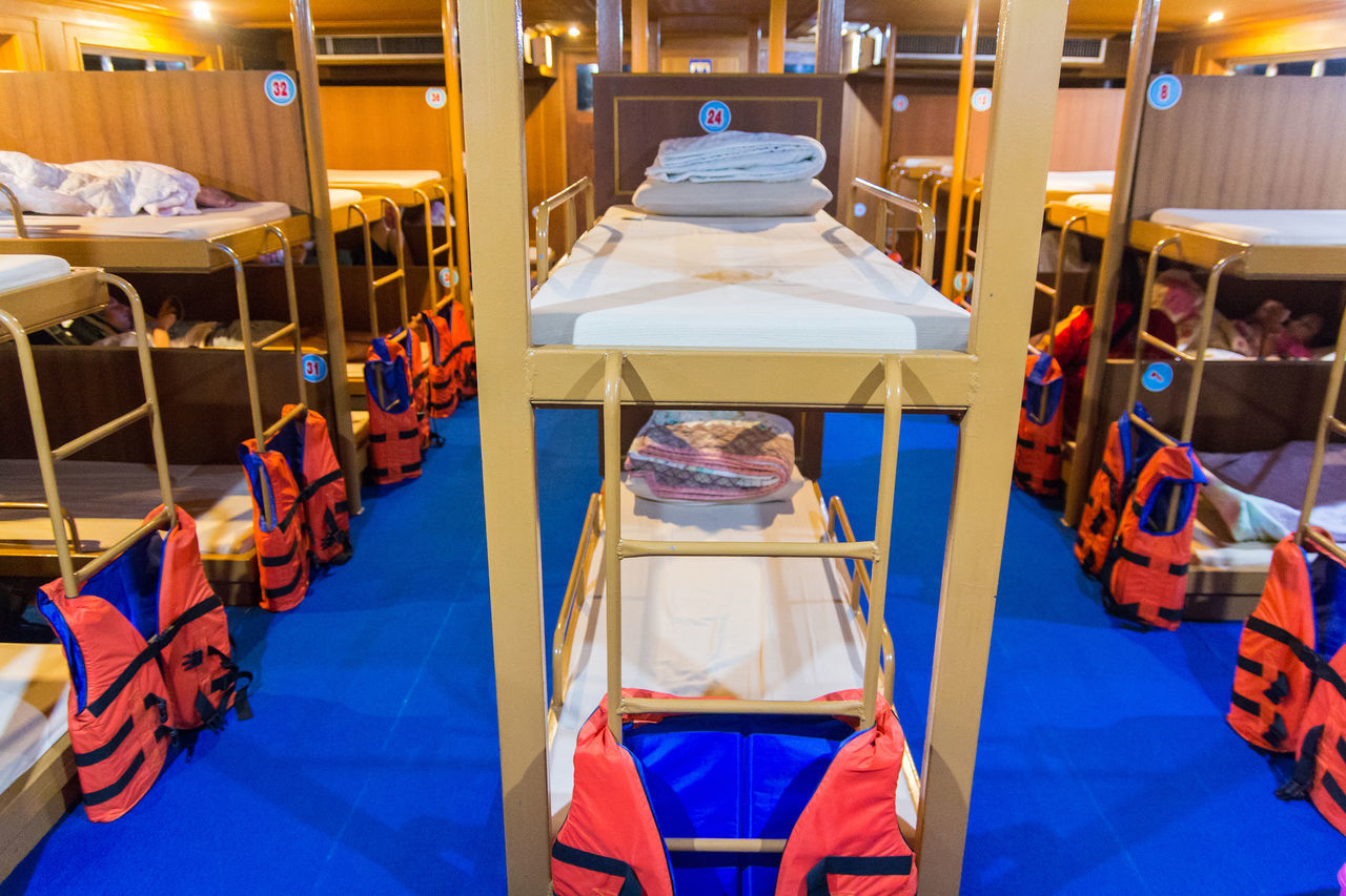 Accommodation Backpacker Bed Bedroom Boat Bunk Bed Cabin Crew Ferry Interior Design Island Journey Koh Tao Life Jacket Lifestyles Relaxation Sea Ship Sleep Thailand Tourism Transportation Travel Destinations