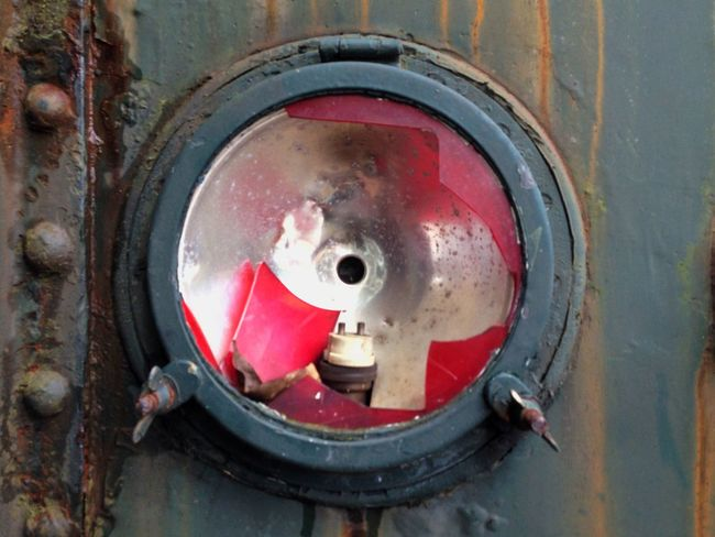 Circle Close-up Damaged Day Man Made Object Messy No People Old Old Light Red Train Train Lights Weathered
