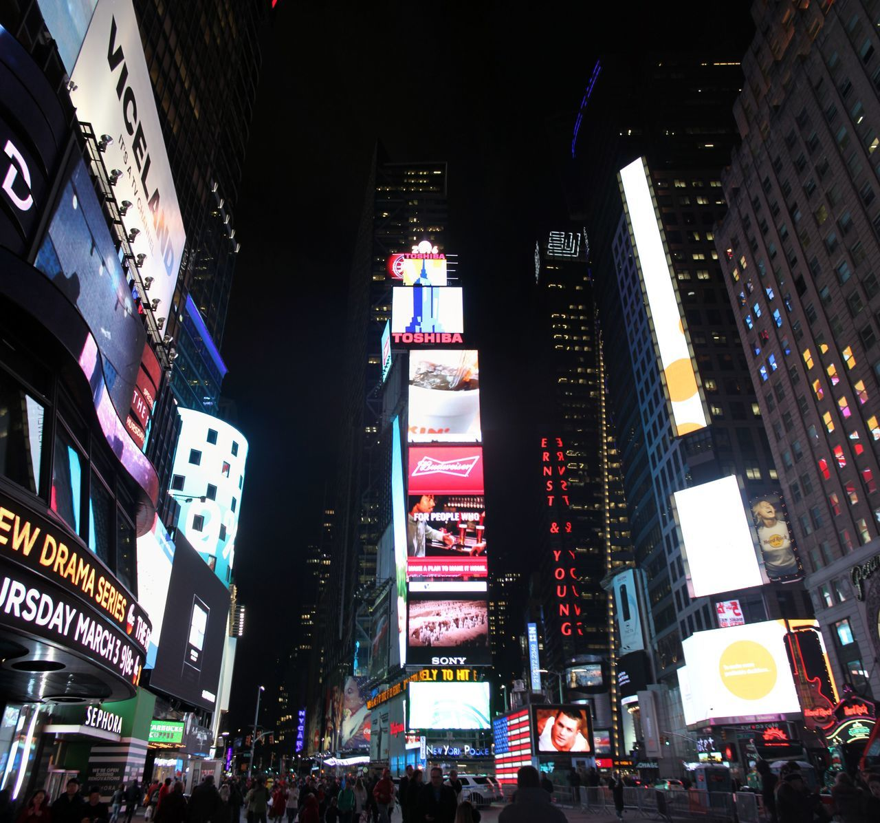 Croweded Manhattan New York New York Night Panorama Screen Light Time Square Time Square, New York United States