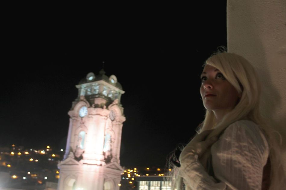 Alice Architecture Beautiful Beautiful Woman Blooming Clocktower Illuminated Lights Look Lookingup Night Night Shot Night Sky One Person Young Adult Young Women