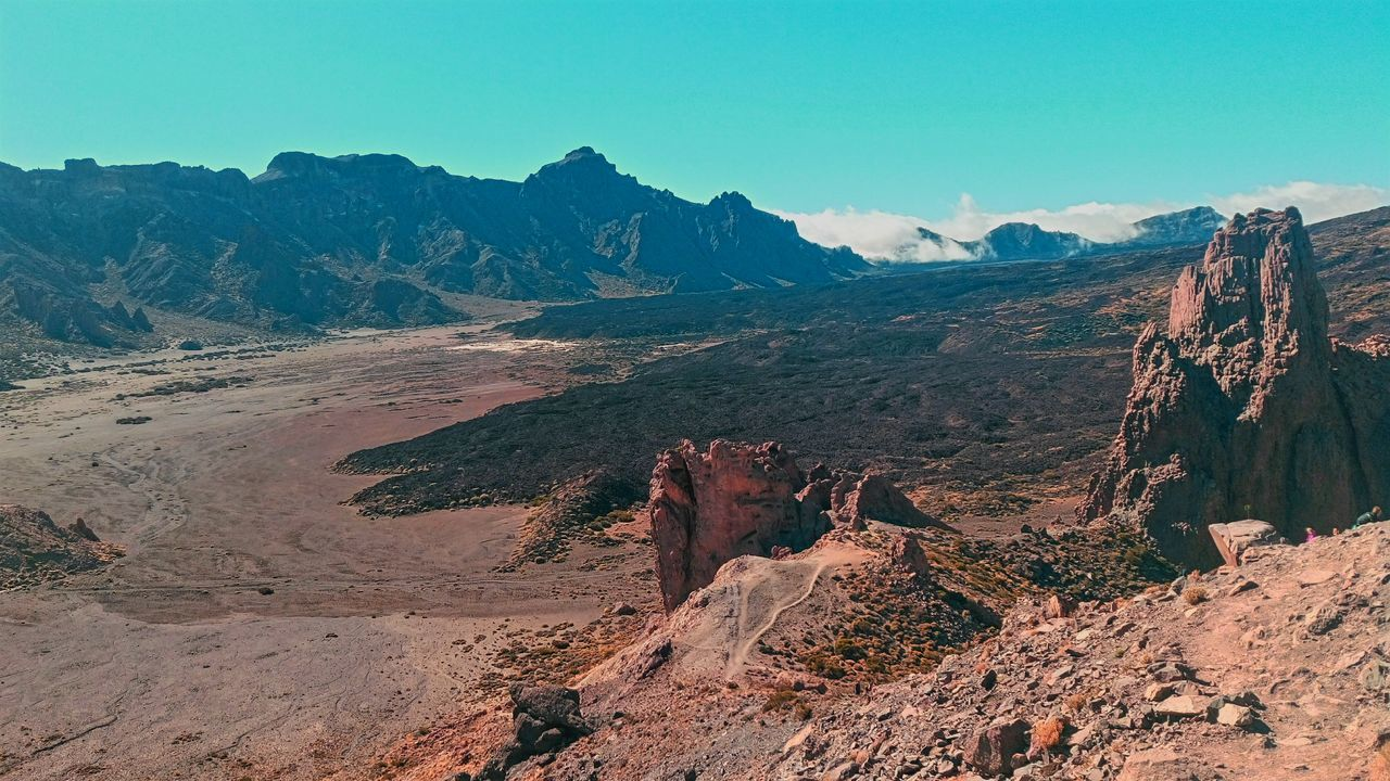 \\OUTWORLD\\ Landscape Mountain Nature Sky Sunset Day Outdoors No People Beauty In Nature Teide España Tenerife Volcano Volcán Cielo Cyan First Eyeem Photo
