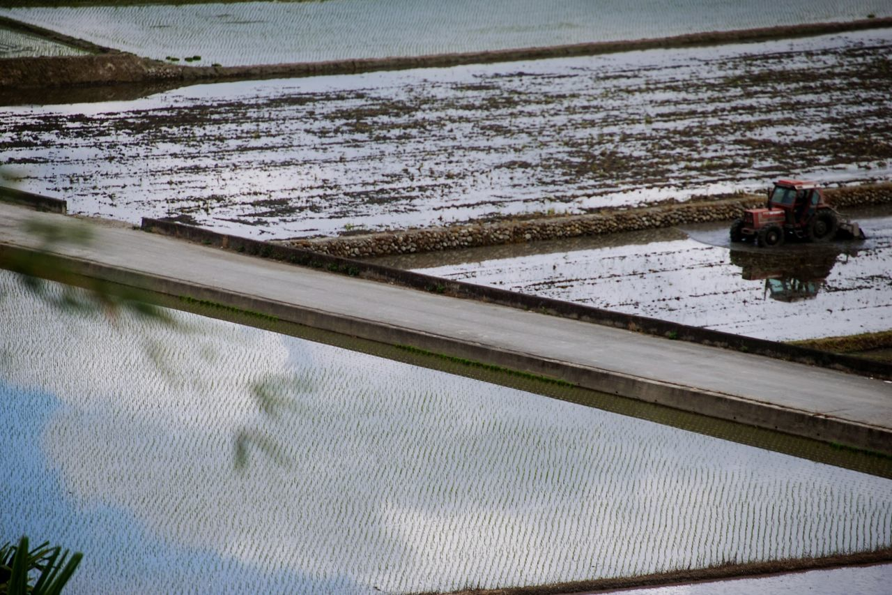 Nature Reflection Water Outdoors Tranquility Beauty In Nature Agriculture Sky And Clouds Sky Scenics Beauty In Nature Illuminated Landscape Farming Vehicles Taiwan Farm Life Nature Reflected Glory Agriculture Farm Equipment Miles Away Getting Inspired Farm Nautical Vessel Rural Scene