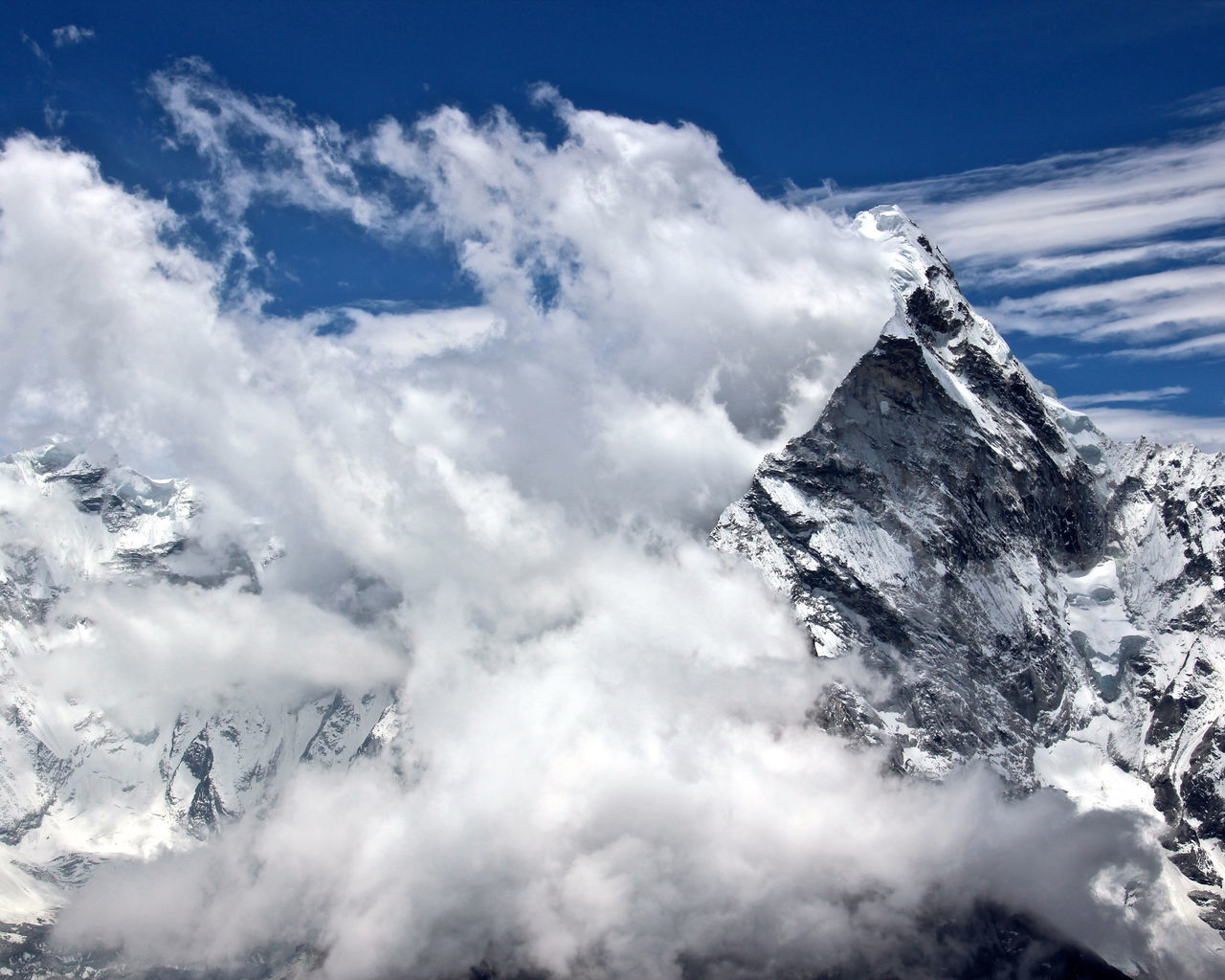 Ama Dablam Beauty In Nature Cloud - Sky Cold Temperature Day Hiking Himalayas Mountain Mountain Peak Nature Nepal No People Outdoors Sky Snow Tree Trekking Winter