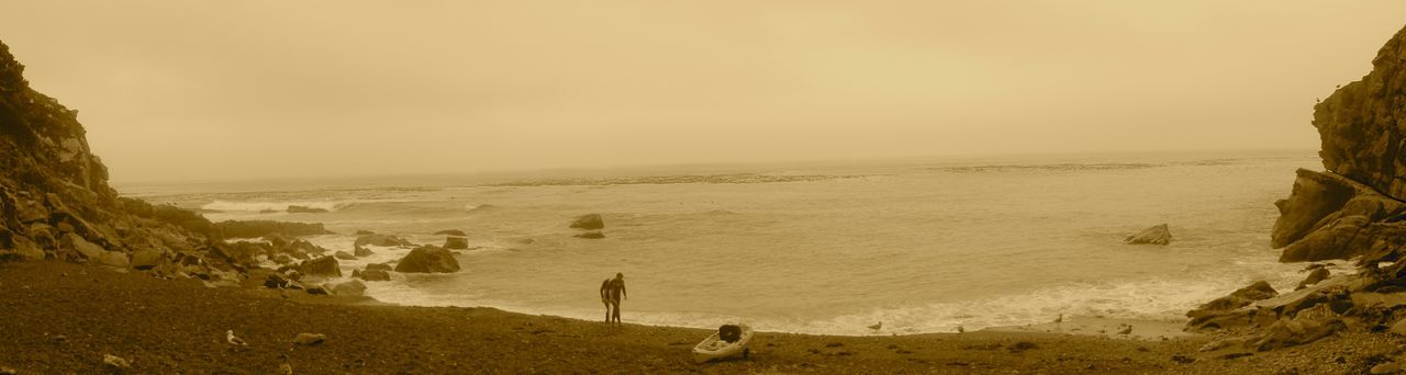 Timber Cover Kayaker Panoramic Beauty In Nature Coastline Foggy Day Idyllic Kayaker On Beach Nature Non-urban Scene Ocean Outdoors Panoramic View Remote Sepia Tone Shore Timber Cover Tranquil Scene Tranquility Water Hidden Gems