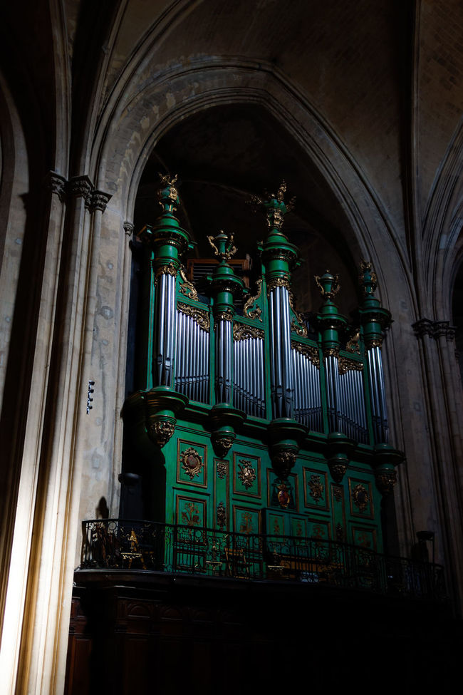 Green organ inside catholic church Architectural Feature Church Column Instrument Interior Keyboard Keyboard Instrument Music Music Instrument Organ Organum Place Of Worship Rare Religion